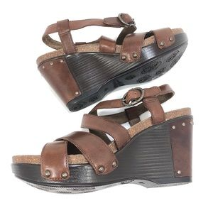 Dansko Brown Leather Studded Wedge Heel Sandals